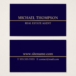 Professional Navy Blue and Gold Business Card