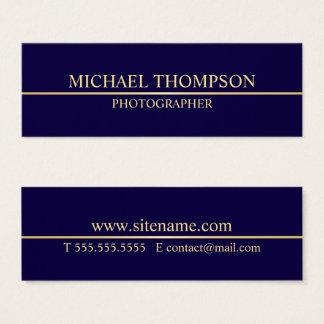 Professional Navy Blue and Gold Mini Business Card
