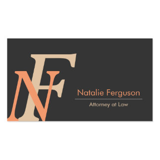 Professional Orange elegant initials lawyer card |