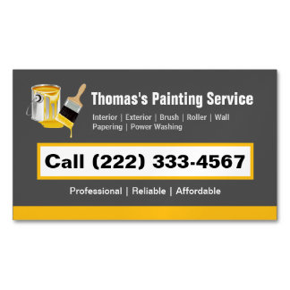 Professional Painting Service Painter Paint Brush Magnetic Business Card