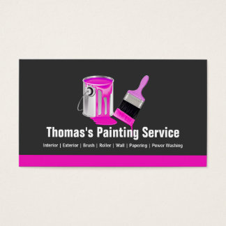 Professional Painting Service - Pink Painter Brush Business Card