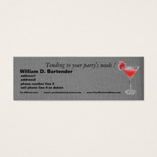 Professional Party Planner on Grey Alligator Mini Business Card