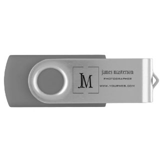 Professional Personalized Modern Business Monogram Swivel USB 3.0 Flash Drive