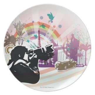 professional photographer shooting urban scene party plates