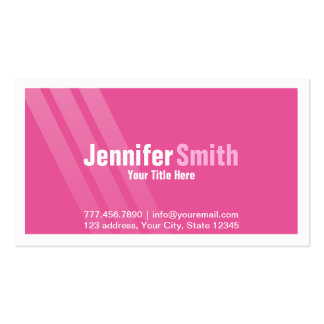 Professional Pink With Stripes and Frame Pack Of Standard Business Cards