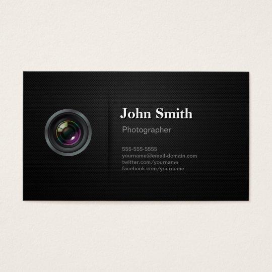 Professional Plain Black - Camera Photographer Business Card