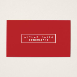 Professional Plain Red Elegant Simple Modern Business Card