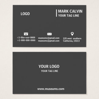 Professional Plain Simple Gray and Black Business Business Card