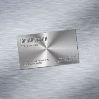 Professional Plain Sliver Radial Metallic Look Magnetic Business Cards
