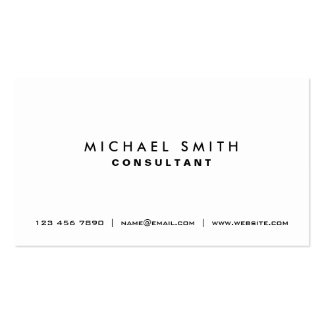 Professional Plain White Elegant Modern Simple Pack Of Standard Business Cards