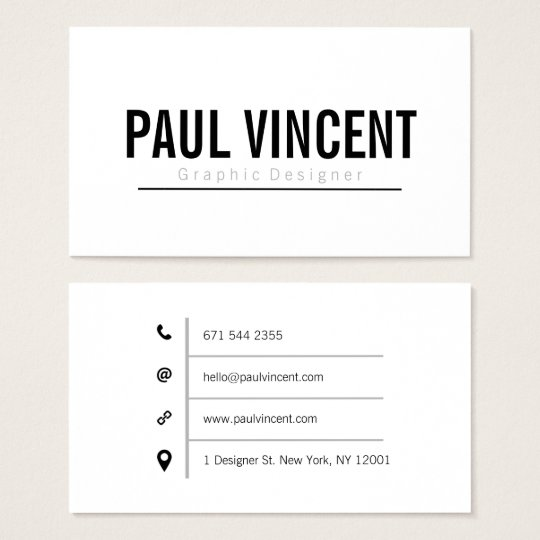 Professional plain white graphic designer simple business card