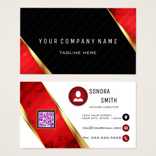 Professional QR Code BOLD Red and Black Business Card