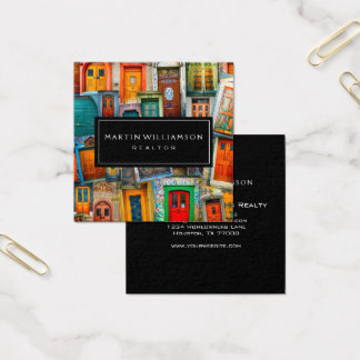 Professional Real Estate Modern Classic Doors Square Business Card