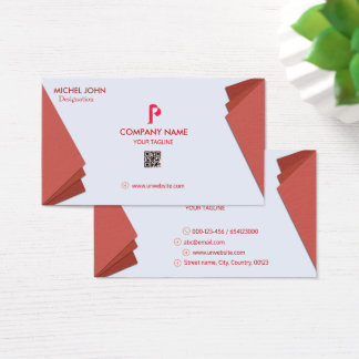 PROFESSIONAL RED -CORPORATE WITH P LOGO AND DESIGN BUSINESS CARD