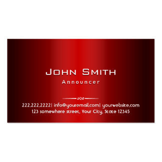 Professional Red Metal Announcer Business Card