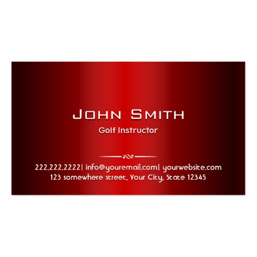 Professional Red Metal Golf Business Card