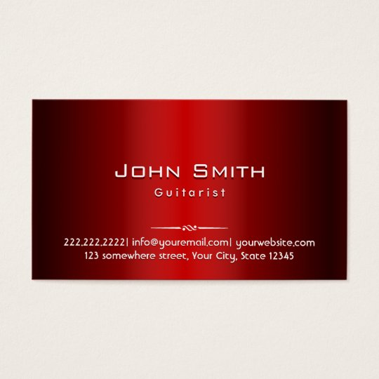 Professional Red Metal Guitarist Business Card