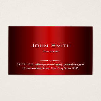 Professional Red Metal Interpreter Business Card
