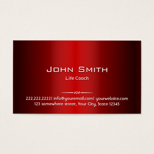 Professional Red Metal Life Coach Business Card