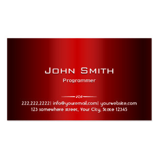 Professional Red Metal Programmer Business Card