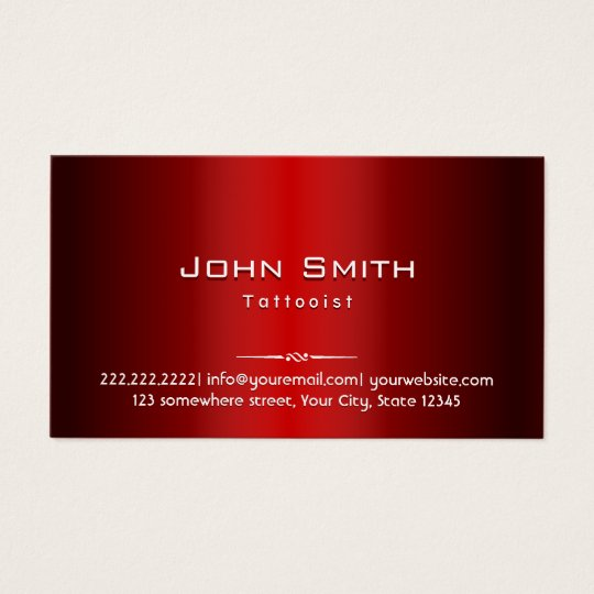 Professional Red Metal Tattoo Art Business Card