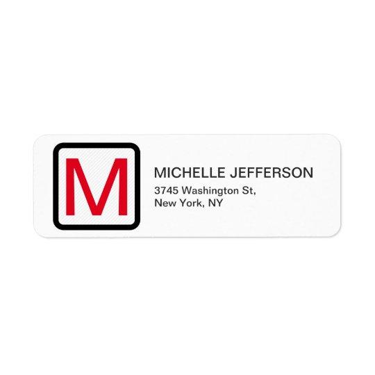 Professional Red White Monogram Modern Plain