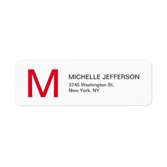 Professional Red White Monogrammed Modern Plain