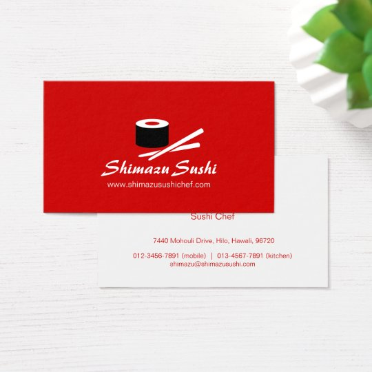 Professional red white sushi chef business card