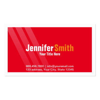 Professional Red with Stripes and Frame Pack Of Standard Business Cards