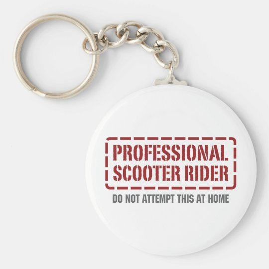 Professional Scooter Rider Basic Round Button Key Ring