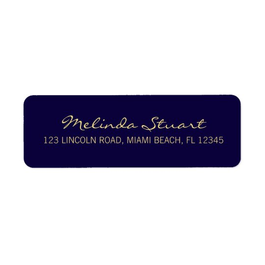 Professional Simple Modern Navy Blue and Gold Return Address Label