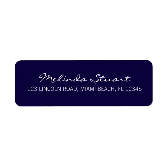 Professional Simple Modern Navy Blue Return Address Label