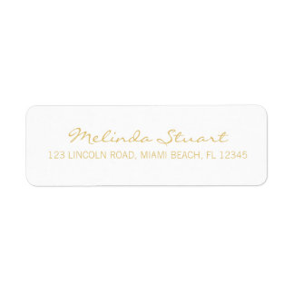 Professional Simple Modern White and Gold Return Address Label