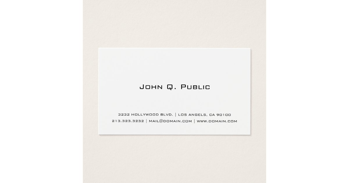 Professional Simple White Business Card | Zazzle.co.uk