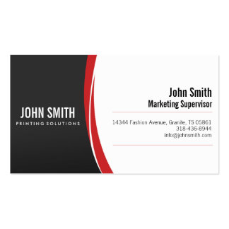 Professional Sleek Modern Red Grey Business Card