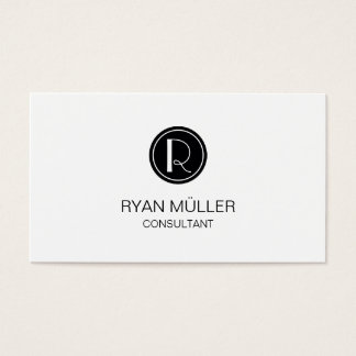 Professional Sophisticated Chic Plain and Monogram Business Card