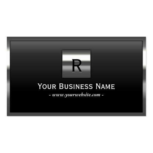 Professional Steel Border Monogram Business Card