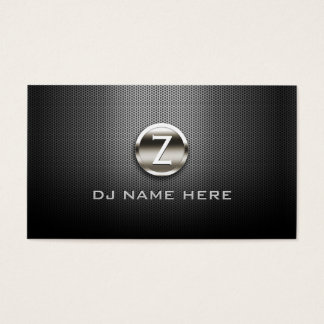 Professional Steel Monogram DJ Business Cards