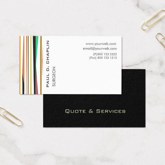 Professional Stripes Paediatrics Doctor  Business Card