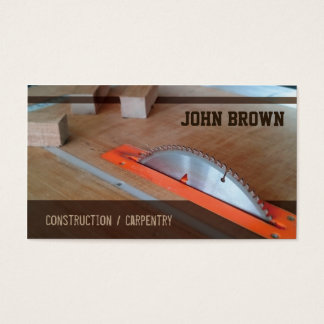 Professional Table Saw Construction Carpentry Business Card