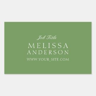 Professional Typography Moss Green Rectangular Sticker