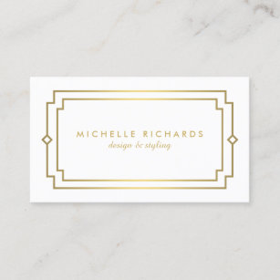 Vintage art deco business cards business card printing zazzle uk professional vintage art deco elegant gold white business card reheart Gallery