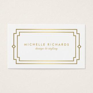 Professional Vintage Art Deco Elegant Gold, White Business Card