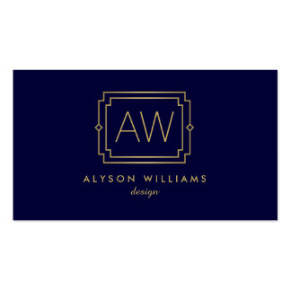 Professional Vintage Art Deco Elegant Navy/Gold Pack Of Standard Business Cards