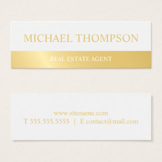 Professional White and Gold Mini Business Card