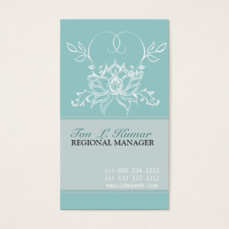 Professional White Lotus Pale Teal  Purity Floral Business Card