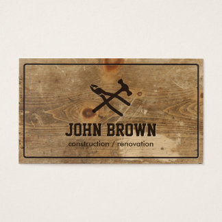Professional Wood Construction Carpentry Repair Business Card