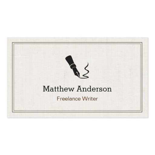 Create your own author business cards professional writer editor author beige linen colourmoves