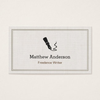 Professional Writer Editor Author - Beige Linen Business Card