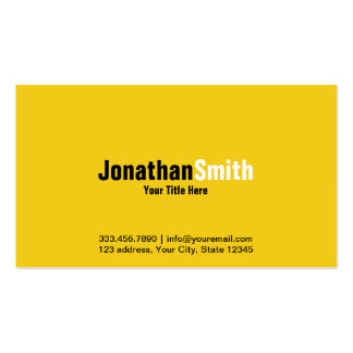 Professional Yellow Black Plain Business Card